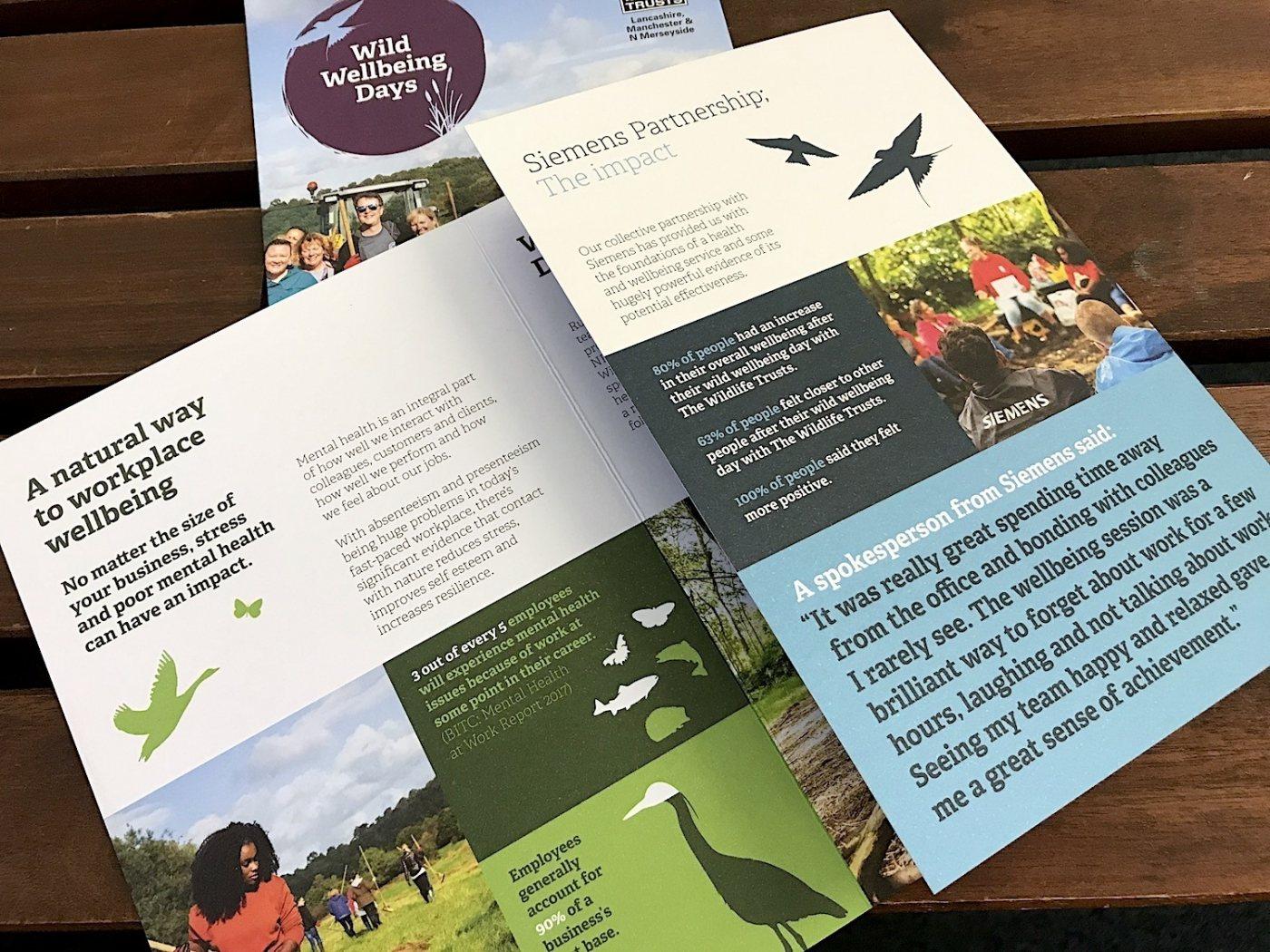 Litertaure design for Lancs Wildlife Trust