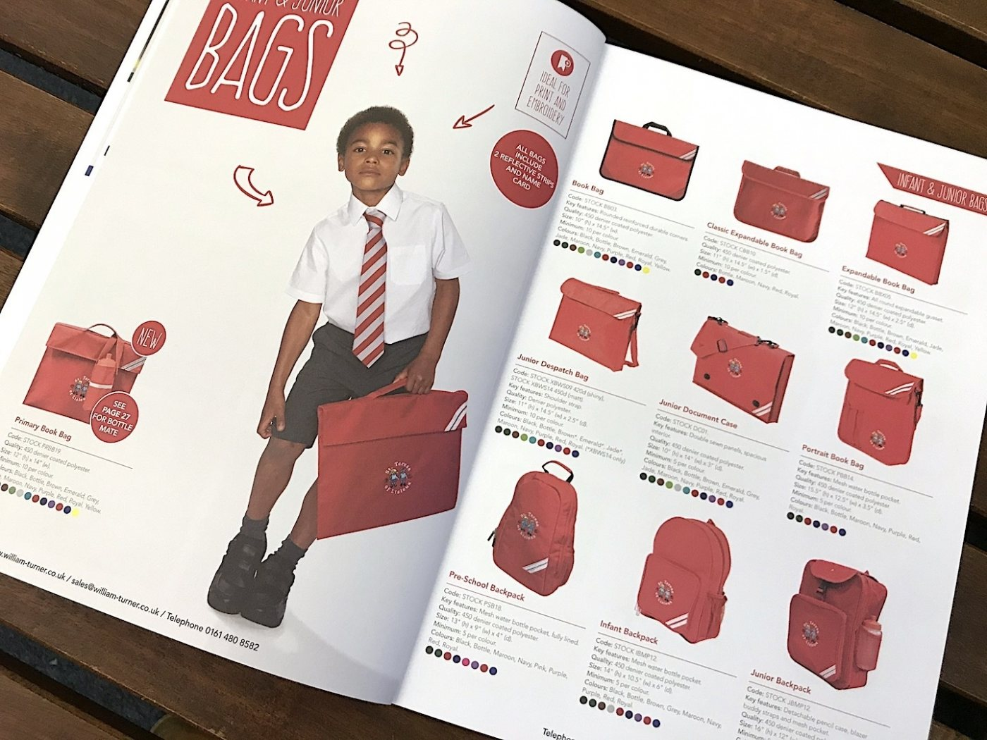 Bags in brochure design