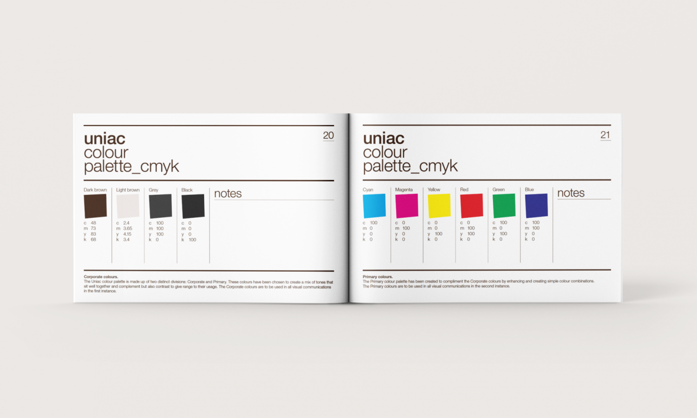 Brand Identity guidelines for Uniac by Sunny Thinking