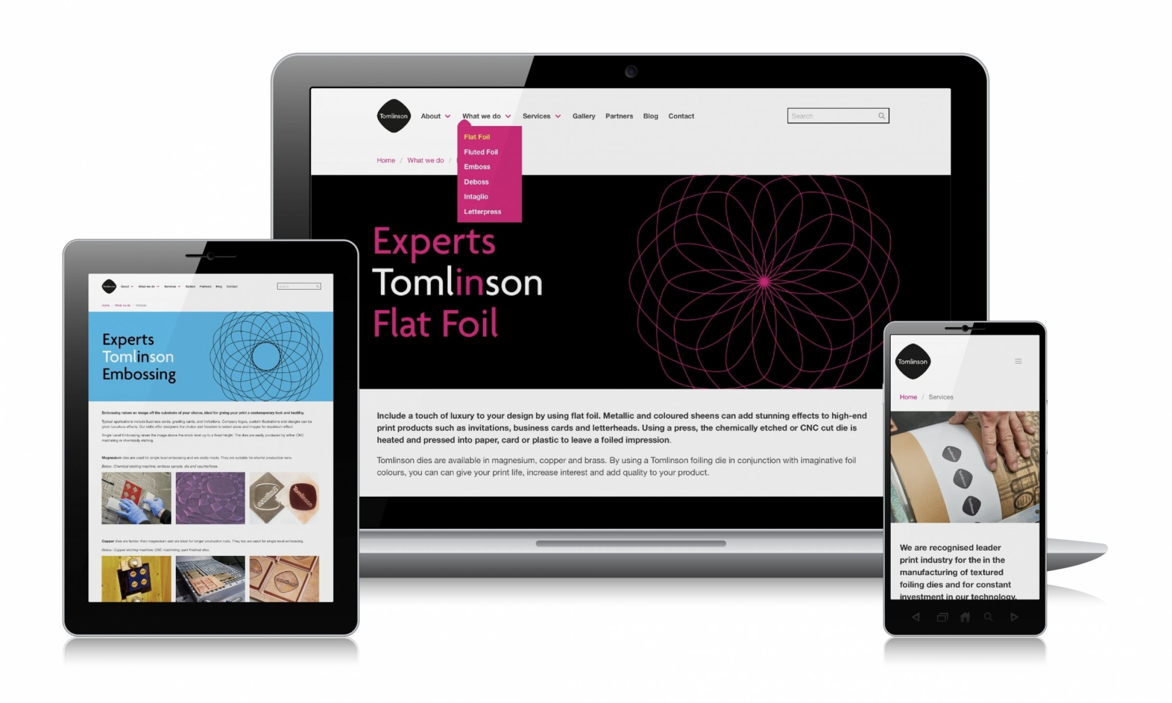 Website design for Tomlinson by Sunny Thinking